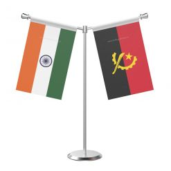 Y Shaped Angola Table Flag With Stainless Steel Base And Pole