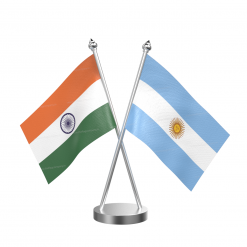 Argentina Table Flag With Stainless Steel Base And Pole