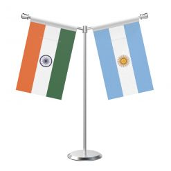 Y Shaped Argentina Table Flag with Stainless Steel Base and Pole