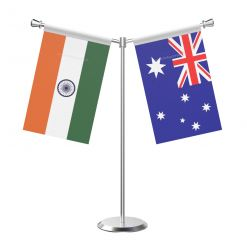 Y Shaped Australia Table Flag with Stainless Steel Base and Pole