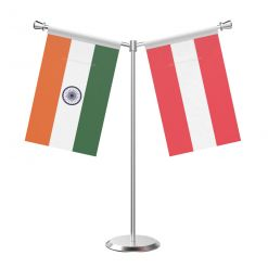Y Shaped Austria Table Flag with Stainless Steel Base and Pole