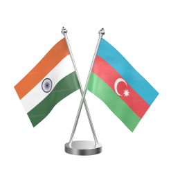 Azerbaijan Table Flag With Stainless Steel Base And Pole