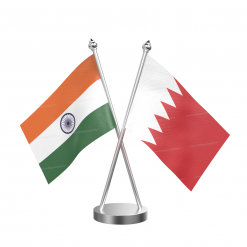 Bahrain Table Flag With Golden Base And Plastic pole