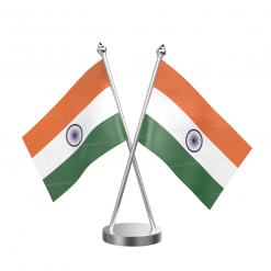 Indian Table  Desk Miniature  Flag With Stainless Steel Base and Pole