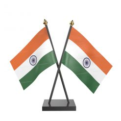 Indian Table  Desk Miniature  Flag With Black Acrylic Base And Gold Top