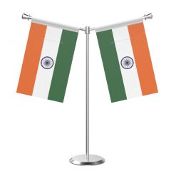 Y Shaped Indian Table Desk Miniature  Flag with Stainless Steel Base and Pole